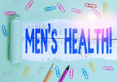 Handwriting text writing Men S Health. Conceptual photo state of complete physical mental and social well being by analysis Stationary and torn cardboard placed above a wooden classic table backdrop Imagens