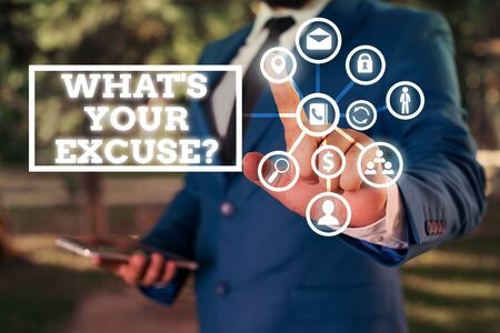Word writing text What s is Your Excuse question. Business photo showcasing Explanations for not doing something Inquiry Imagens