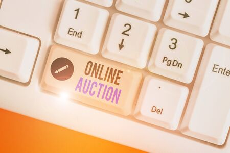 Word writing text Online Auction. Business photo showcasing process of buying and selling goods or services online 版權商用圖片