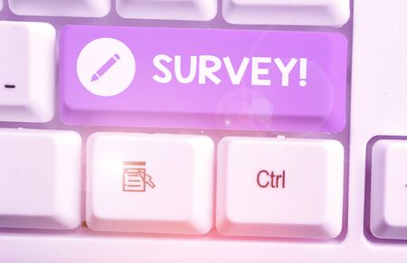 Text sign showing Survey. Business photo showcasing research method used for collecting data from a predefined group