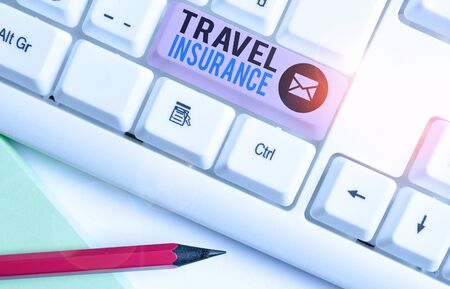 Writing note showing Travel Insurance. Business concept for covers the costs and losses associated with traveling