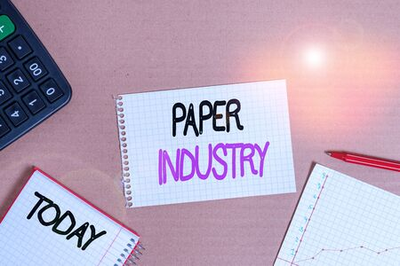 Conceptual hand writing showing Paper Industry. Concept meaning industry of analysisufacturing and selling cellulosebased product Cardboard notebook office study supplies chart paper