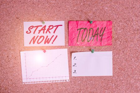 Conceptual hand writing showing Start Now. Concept meaning do not hesitate get working or doing stuff right away Corkboard size paper thumbtack sheet billboard notice board