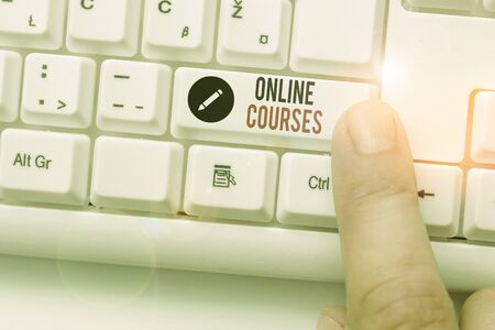 Writing note showing Online Courses. Business concept for courses deliver a series of lessons to a web browser