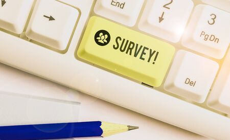 Conceptual hand writing showing Survey. Concept meaning research method used for collecting data from a predefined group Stock Photo
