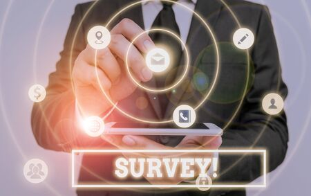 Writing note showing Survey. Business concept for research method used for collecting data from a predefined group Stock Photo