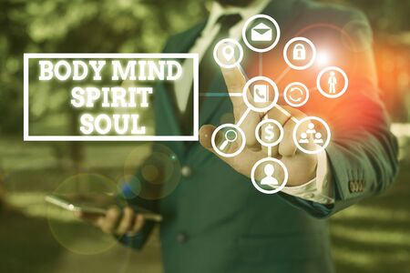 Word writing text Body Mind Spirit Soul. Business photo showcasing Personal Balance Therapy Conciousness state of mind