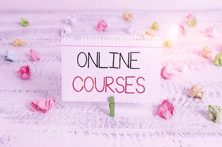 Writing note showing Online Courses. Business concept for courses deliver a series of lessons to a web browser Green clothespin white wood background reminder office supply Reklamní fotografie