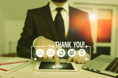Word writing text Thank You. Business photo showcasing polite expression used when acknowledging gift service compliment