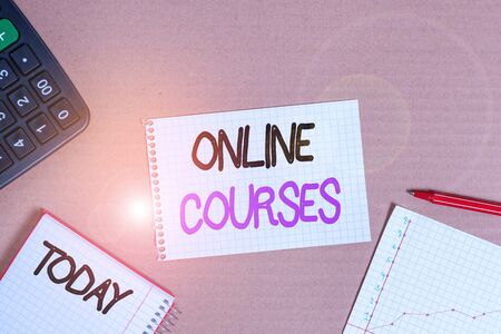 Conceptual hand writing showing Online Courses. Concept meaning courses deliver a series of lessons to a web browser Cardboard notebook office study supplies chart paper