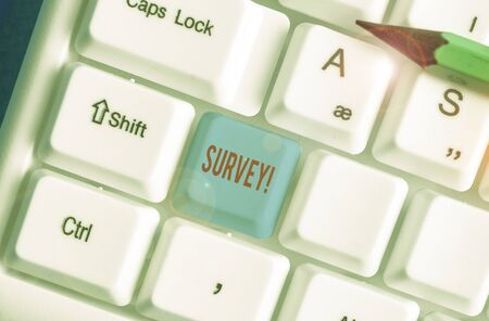 Text sign showing Survey. Business photo text research method used for collecting data from a predefined group Banco de Imagens