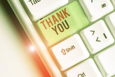Text sign showing Thank You. Business photo showcasing polite expression used when acknowledging gift service compliment Banco de Imagens