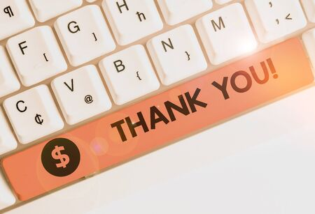 Handwriting text writing Thank You. Conceptual photo polite expression used when acknowledging gift service compliment Banco de Imagens