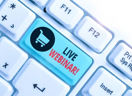 Text sign showing Live Webinar. Business photo text presentation lecture or seminar transmitted over Web