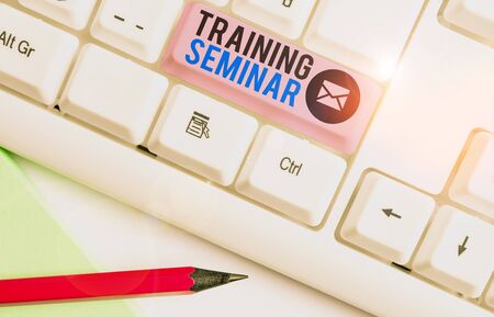 Writing note showing Training Seminar. Business concept for graduate course often featuring informality and discussion