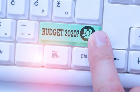 Writing note showing Budget 2020 Question. Business concept for estimate of income and expenditure for next year