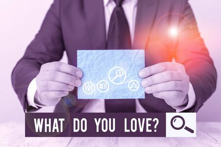 Text sign showing What Do You Love question. Business photo text Enjoyable things passion for something inspiration Banco de Imagens
