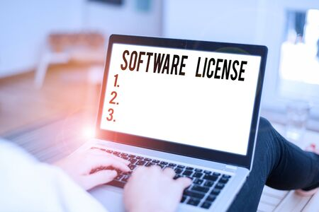 Conceptual hand writing showing Software License. Concept meaning legal instrument governing the redistribution of software Standard-Bild