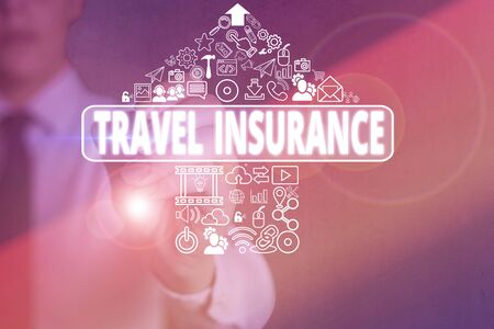 Conceptual hand writing showing Travel Insurance. Concept meaning covers the costs and losses associated with traveling