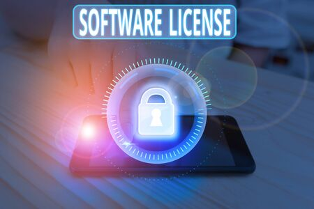 Text sign showing Software License. Business photo showcasing legal instrument governing the redistribution of software