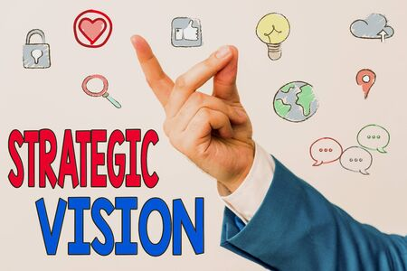 Word writing text Strategic Vision. Business photo showcasing clarifies the direction the organisation needs to move