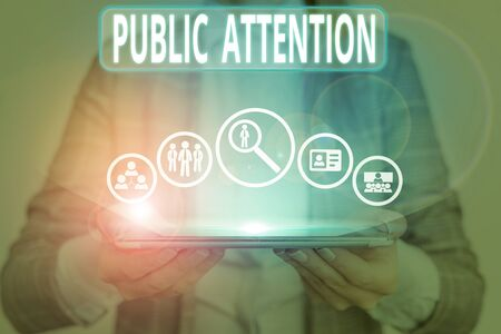Conceptual hand writing showing Public Attention. Concept meaning the attention or focus of the general public to a demonstrating Stockfoto
