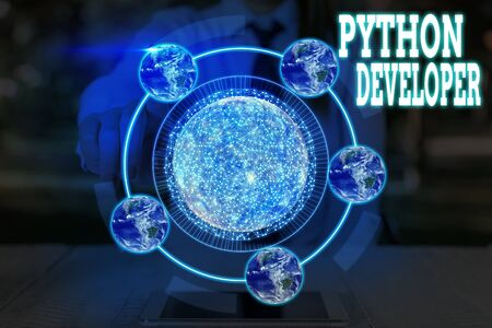 Word writing text Python Developer. Business photo showcasing responsible for writing serverside web application logic
