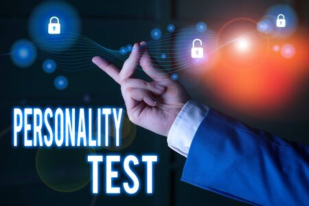 Text sign showing Personality Test. Business photo text A method of assessing huanalysis demonstratingality constructs