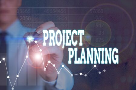 Writing note showing Project Planning. Business concept for plan and subsequently report progress within the project
