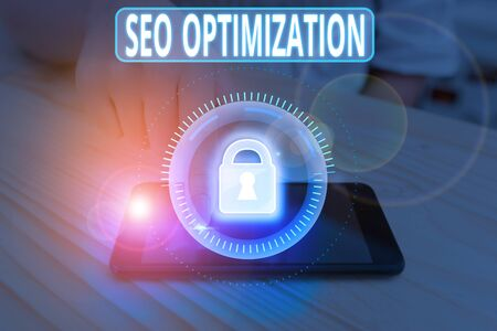 Text sign showing Seo Optimization. Business photo showcasing increasing visibility of a website or a web page to users