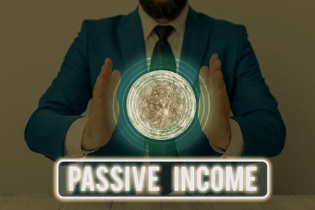Text sign showing Passive Income. Business photo text the earnings derived from a rental property and others Standard-Bild
