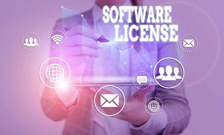 Wort schreiben Text Softwarelizenz. Geschäftsfoto mit Rechtsinstrument zur Umverteilung von Software