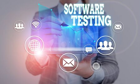 Word writing text Software Testing. Business photo showcasing evaluate the functionality of a software application