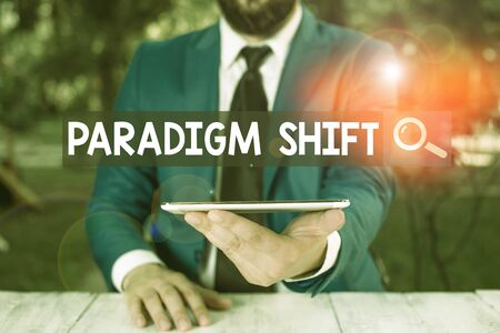 Text sign showing Paradigm Shift. Business photo showcasing fundamental change in approach or underlying assumptions Businessman with mobile phone in his hand Stock Photo