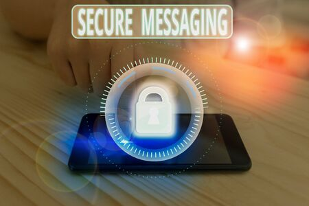 Text sign showing Secure Messaging. Business photo showcasing protect critical data when sent beyond the corporate border Banco de Imagens