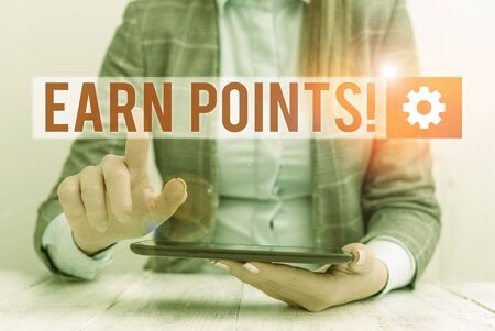 Word writing text Earn Points. Business photo showcasing collecting scores in order qualify to win big prize Business concept with communication mobile phone