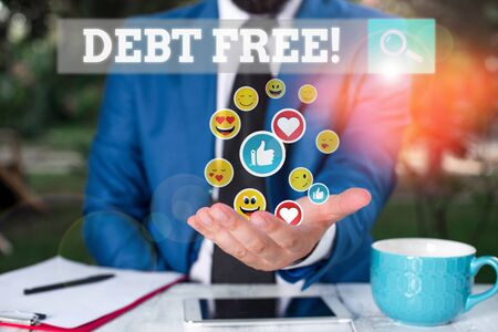 Handwriting text Debt Free. Conceptual photo does not owning any money to any individual or companies