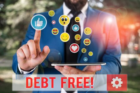 Conceptual hand writing showing Debt Free. Concept meaning does not owning any money to any individual or companies Stok Fotoğraf