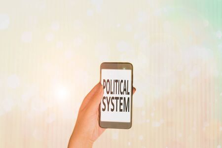 Text sign showing Political System. Business photo showcasing the process for making official government decisions