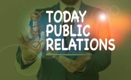 Writing note showing Public Relations. Business concept for state of the relationship between the public and a company