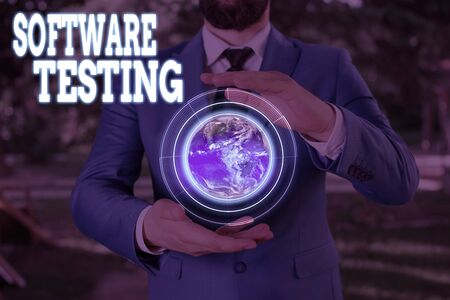 Text sign showing Software Testing. Business photo showcasing evaluate the functionality of a software application 版權商用圖片