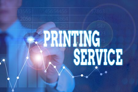 Writing note showing Printing Service. Business concept for program offered by print providers that analysisage all aspects