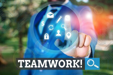 Text sign showing Teamwork. Business photo text combined action of group especially when effective and efficient