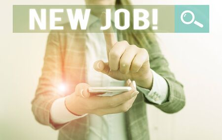 Conceptual hand writing showing New Job. Concept meaning recently having paid position of regular employment Business concept with mobile phone and business woman Stock Photo