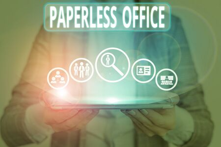 Conceptual hand writing showing Paperless Office. Concept meaning work environment in which the use of paper is eliminated