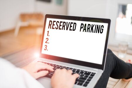 Conceptual hand writing showing Reserved Parking. Concept meaning parking spaces that are reserved for specific individuals
