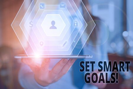 Text sign showing Set Smart Goals. Business photo text list to clarify your ideas focus efforts use time wisely