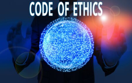 Word writing text Code Of Ethics. Business photo showcasing basic guide for professional conduct and imposes duties Banco de Imagens