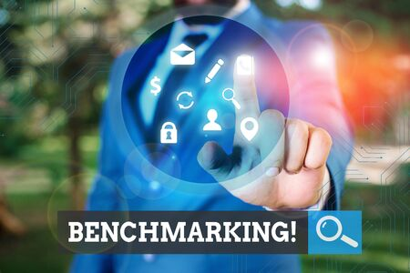 Text sign showing Benchmarking. Business photo text evaluate something by comparison with standard or scores Banco de Imagens