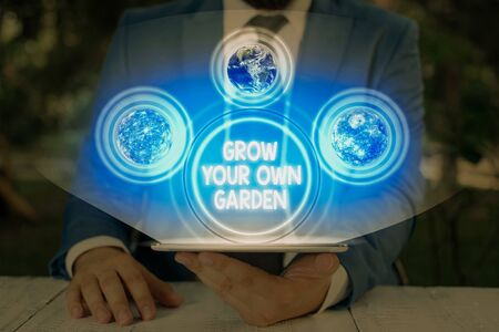 Handwriting text Grow Your Own Garden. Conceptual photo Organic Gardening collect demonstratingal vegetables fruits